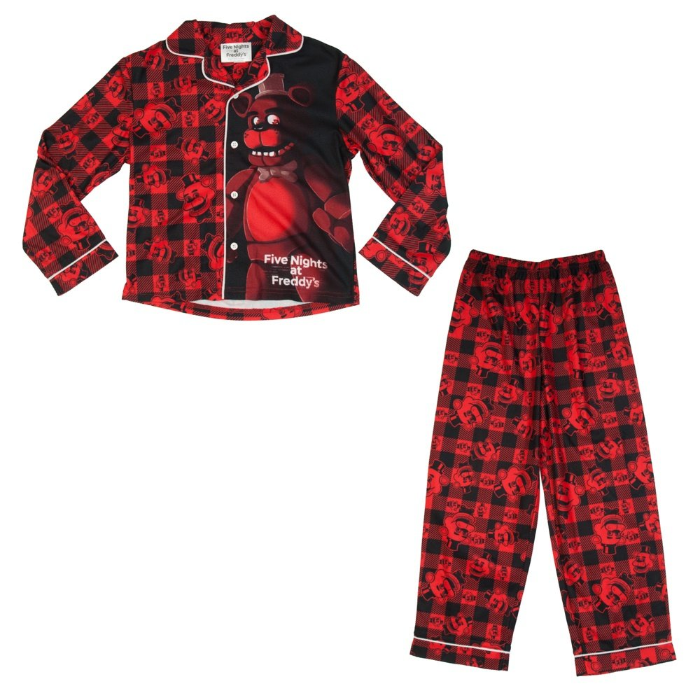 Five Nights at Freddys Boys Girls 5 Nights Pajama Set Freddy Plaid Shirt and Pants (Medium - 6)