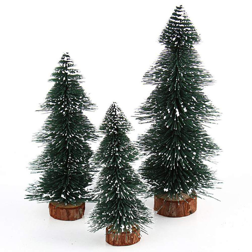 Highpot Mini Christmas Tree Green Sisal Snow Frost Trees Bottle Brush Trees Tabletop Christmas Trees for DIY Room Decor Table Top Decoration (7.9 inches)