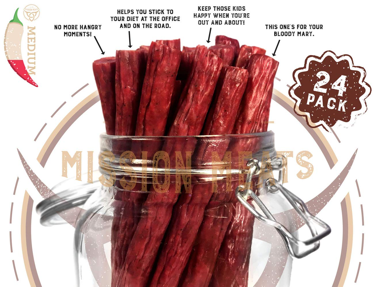 Mission Meats Keto Sugar Free Grass-Fed Beef Snacks Sticks Non-GMO Gluten Free MSG Free Nitrate Nitrite Free Paleo Healthy Natural Meat Sticks Beef Jerky (Jalapeno Beef, 24)