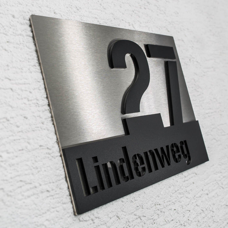 Hausnummer-Schild aus Edelstahl Nummer /& Stra/ße individuelles design von Metzler schwarz Beschriftung