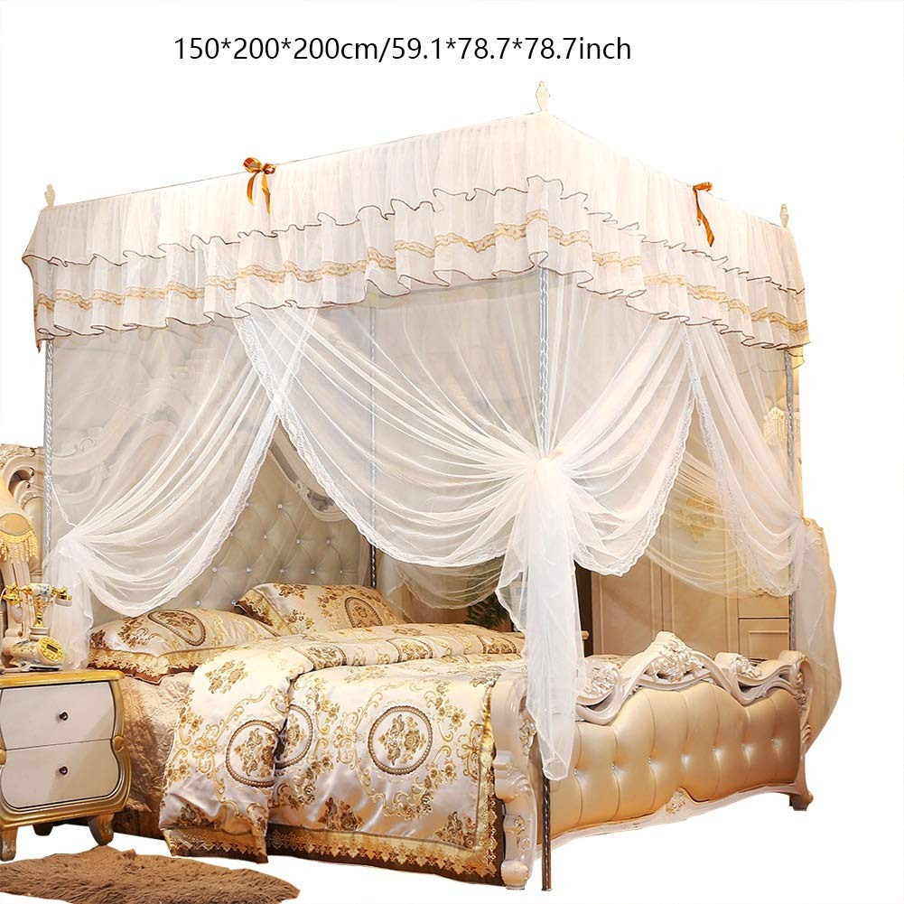 Size : S Princess Four Corner Post Bed Curtain Durable Canopy Mosquito Netting Bedding VIFERR Mosquito Net Bed Curtains