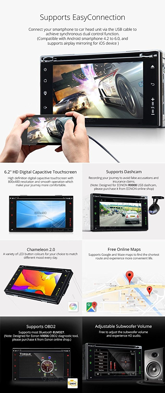 Eonon GA2160 Android 6.0 Marshmallow Car GPS Quad Core In Dash Radio Stereo 6.2 Inch 2 Din Multimedia Touch Screen Bluetooth 4.0 AM/FM Navigation