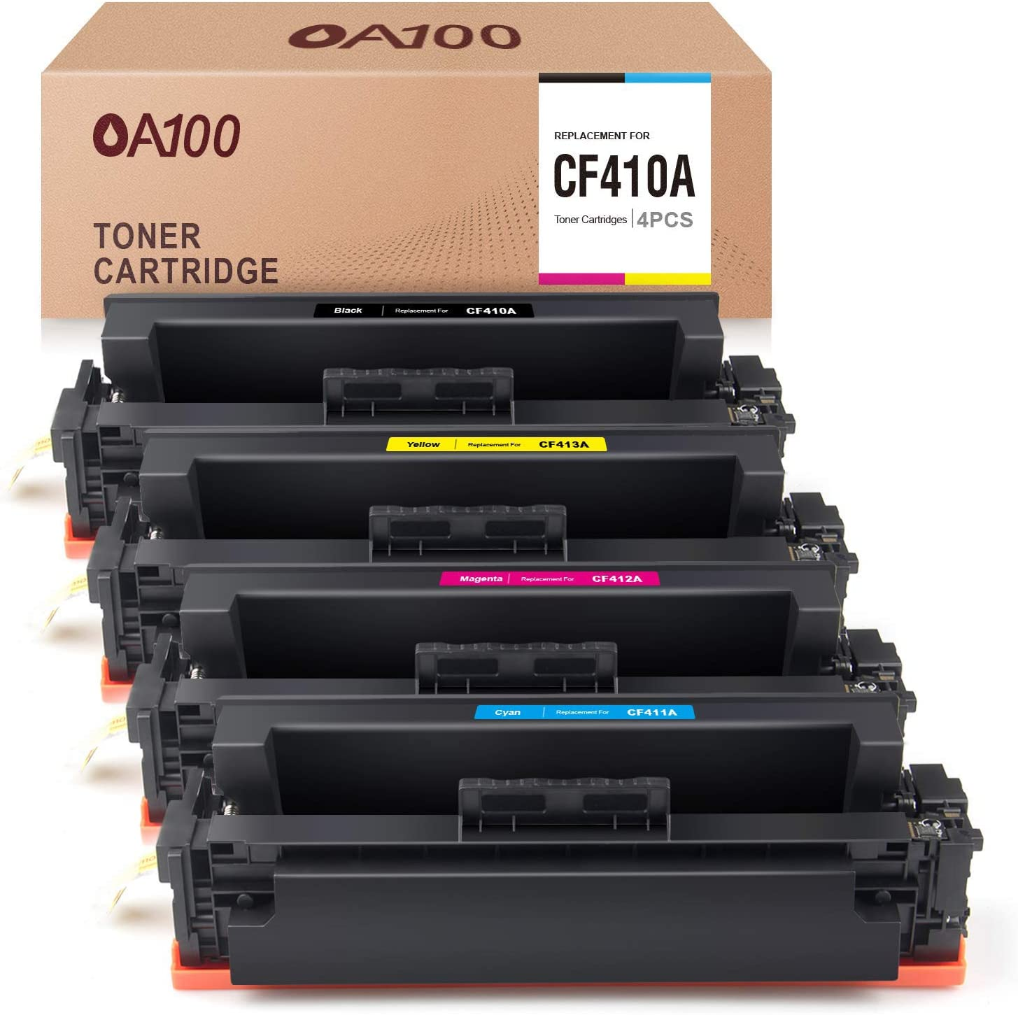 OA100 Compatible Toner Cartridge Replacement for HP 410A 410X CF410A CF410X CF411A CF412A CF413A - for HP Color Laserjet Pro MFP M477fnw M477fdw M477fdn Pro M452dw M452nw M452dn (4 Pack)