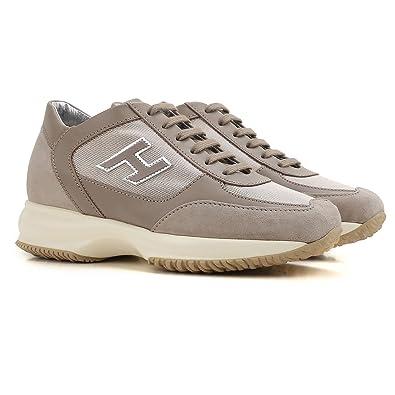7eb55976cdb1 Hogan Interactive H Flock Sneakers Beige Donna 35  Amazon.co.uk ...