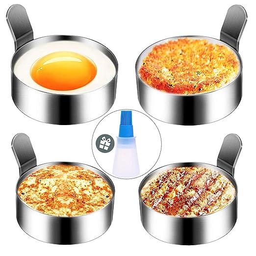 Hanamichi Anillo de Huevo, 4 pcs Inoxidable Tortilla de Cocina de Molde Antiadherente Molde de Huevo Frito Herramienta de cocción de Anillo de Metal ...