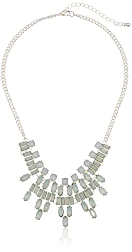 Ice Blue Frosted Stone Bib Statement Necklace, 16""