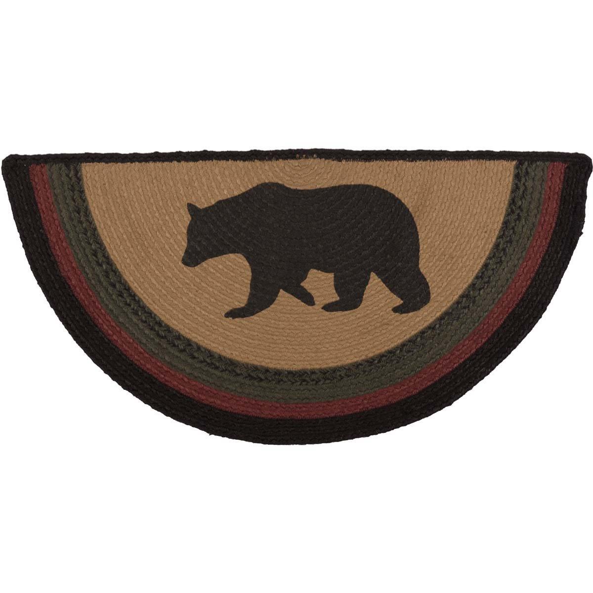 VHC Brands 38073 Rustic & Lodge Flooring-Wyatt Tan Bear Half Circle Jute Rug, 16.5 x 33