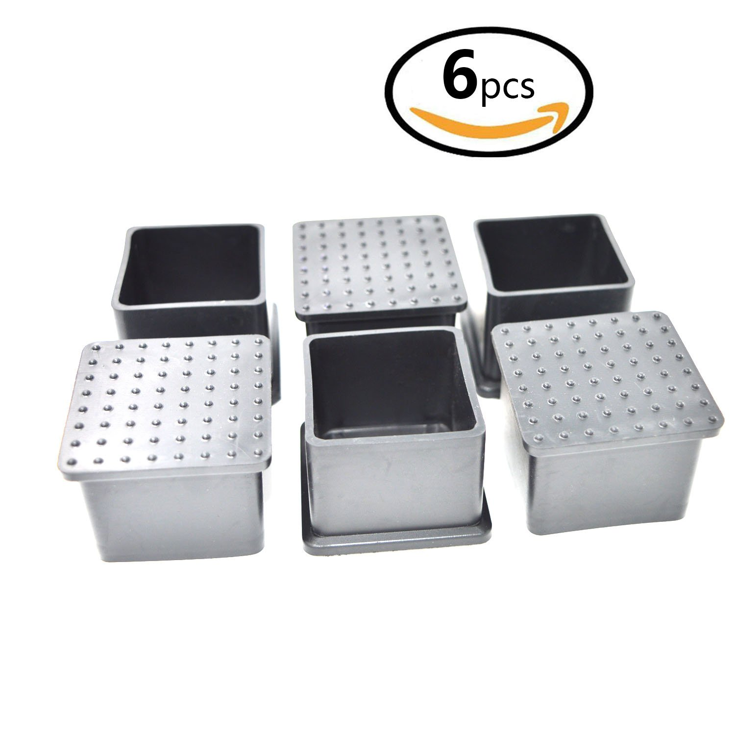 SpeedDa Rubber Square Shaped Furniture Table Chair Leg Foot Cover Cap 1.57 inch x 1.57 inch 6pcs Black