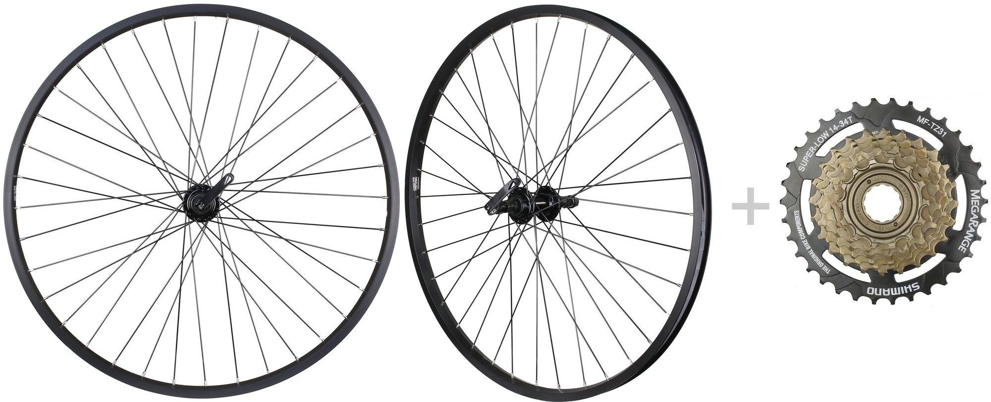 CyclingDeal Bike Bicycle MTB Wheelset 26'' 7 Speed with Shimano MF-TZ31 14-34T Freewheel