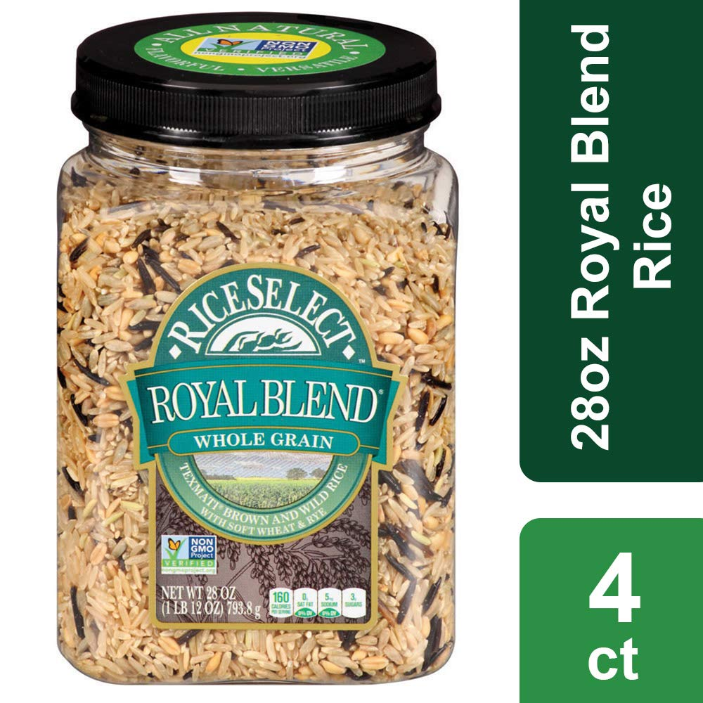 RiceSelect Royal Blend, Whole Grain Texmati Brown & Wild Rice with Soft Wheat & Rye Berries, 28-Ounce (Pack of 4)