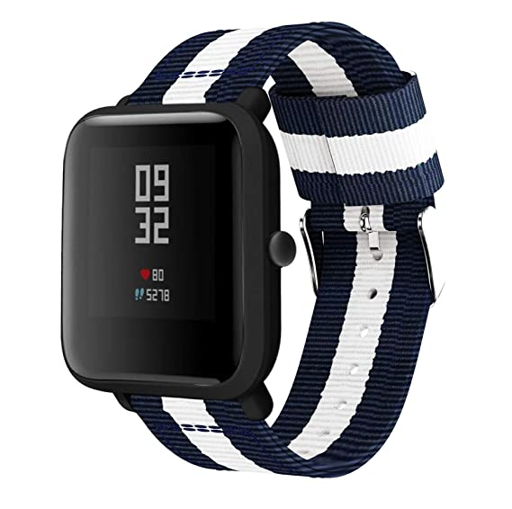 Amazon.com: 20mm Width Nylon Watch Band for Amazfit Bip ...