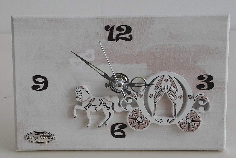Cvc srl - Reloj de madera blanco con decoración de caballo y carroza, tamaño 5 x 10 cm - Detalle de regalo para ceremonias nupciales, bodas, decoración del hogar