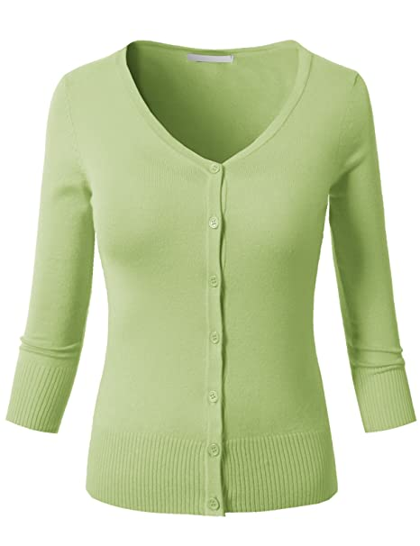 H2H Womens Casual Slim Fit Cardigans 3 4 Sleeve Button Down Knitted ... cb8254a32