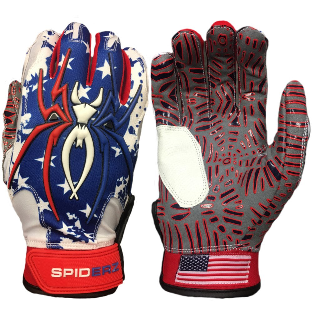 Spiderz大人用ハイブリッドバッティンググローブシリコンWeb Palm B07BBTVJLJ Adult Large USA Flag w/New Web Tac Grip USA Flag w/New Web Tac Grip Adult Large