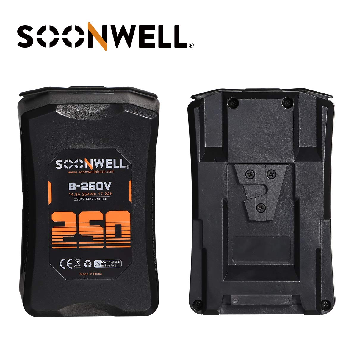 SOONWELL 250Wh Lithium-Ion V-Mount Battery High-Load Battery with Dual D-Tap & USB Port for BMPCC 4K Arri BMD DSLR and Other Camcorders by SOONWELL