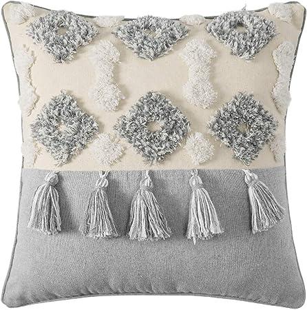Woven Tufted Tassel Throw Pillow Covers Fringe Sofa Couch Cushio Cream 18X18inch