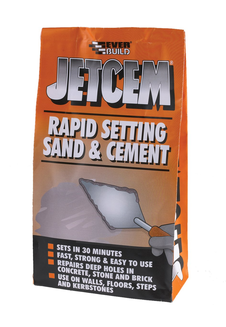 JetCem Premix Sand & Cement - Rapid cement for repairs walls, floors, steps and kerb-stones - 6kg - Grey Everbuild JETMIX6-EBD