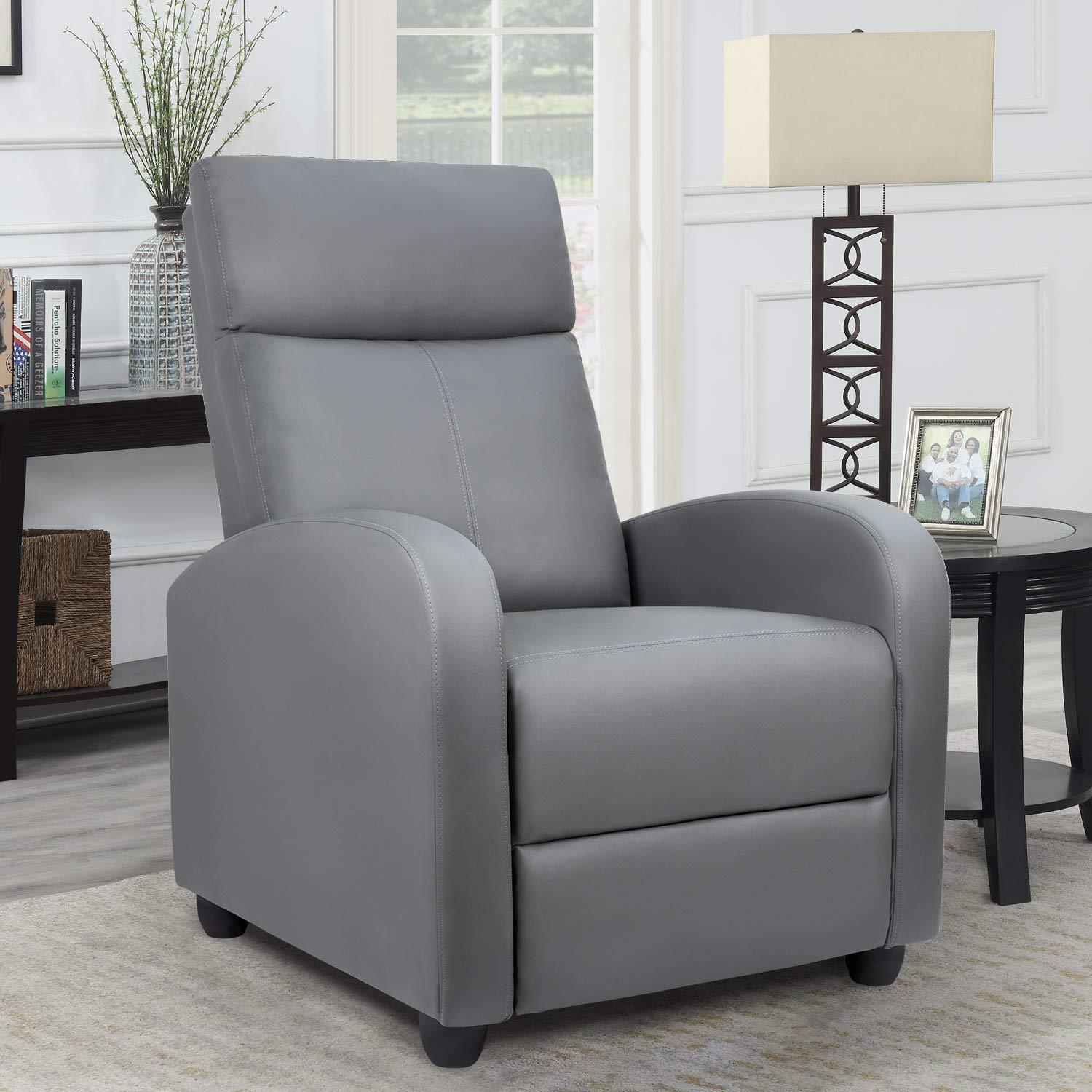 Homall Single Recliner Chair Padded Seat PU Leather Living Room Sofa Recliner Modern Recliner Seat Club Chair Home Theater Seating (Gray) by Homall
