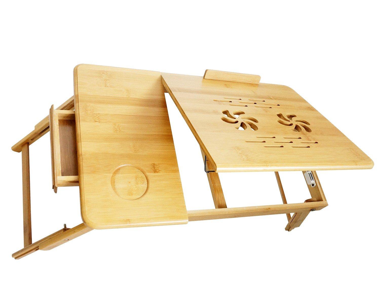 Todeco Mesa Portátil para Laptop, Bandeja de Cama Plegable - Material: Bambú - Tamaño de la Superficie de la Mesa: 55,1 x 35,1 cm - Escritorio Ajustable con Ventilación FR1HOG200100