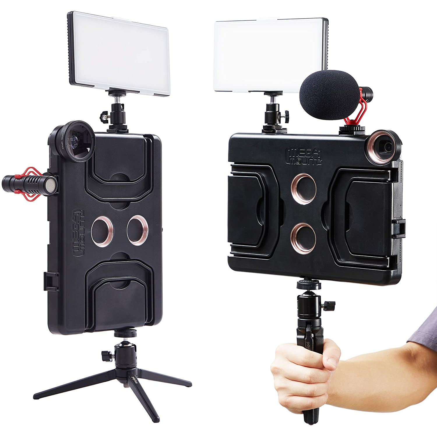 Mounts on Tripods and Monopods MegaMount Multimedia Rig Case Video stabilizer for Apple iPad Pro 12.9 inch Lights Microphones Current 3rd Gen Only Easily Attach Lenses Great for Video Recording