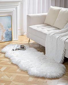 BAYKA Faux Sheepskin Fur Area Rug, Luxury Fluffy Area Rug, Soft Furry Carpet Rug for Bedroom, Children's Room, Decor Rug 2x6 Feet,Pear White