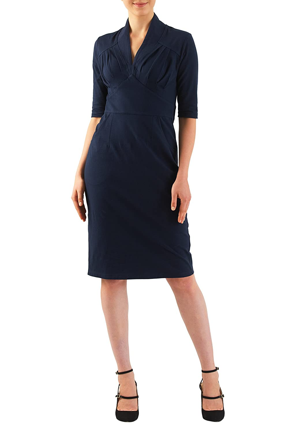 1940s Pinup Dresses for Sale  Feminine pleated cotton knit sheath dress $54.95 AT vintagedancer.com