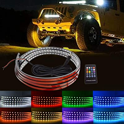LncBoc LED Under Car Lights Kit 4Pcs, 8 Color Neon Led Lights Car Sync To Music,Wireless Remote Control 5050 Rgb Led Strip Lights Waterproof with Cable Tie & Screw: Automotive