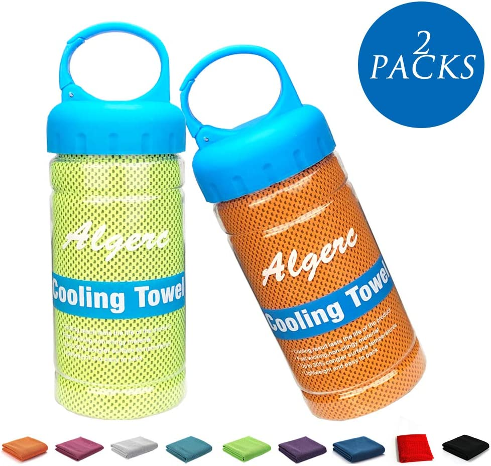Algerc Cooling Towel - Instant Cooling Sports Towel Chill Feeling Golf Towel Relief, Super Soft and Breathable Yoga Towel with Special Jars Container with Clip, for Yoga Gym, Sports and School
