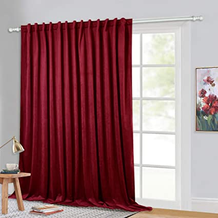 Stangh Room Darkening Curtains Red Extra Wide 120 Inches Long Velvet Drapes For Display Window Decor Holiday Backdrop Curtains For Party Hallway 100 X 120 Inch 1 Panel Amazon Co Uk Kitchen Home