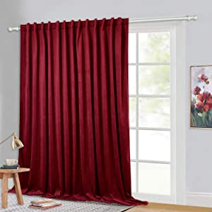 """StangH Red Luxury Velvet Curtains - Extra 120"""" Long Heavyweight Velvet Drapes Blackout Privacy Room Divider Curtain Panels with Back Tab for Backdrops/Stage Hall, 100""""x 120"""", 1 Pc"""