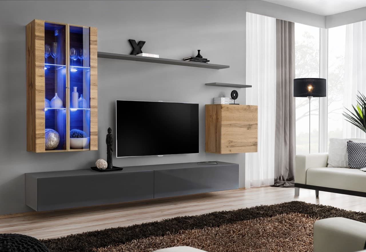 Soho 12 Wall Mounted Tv Units Modern Unique Furniture For Living Room Color Grey Oak Home Kitchen