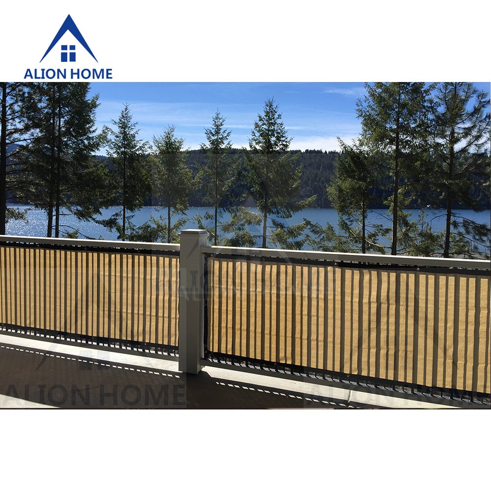 Alion Home HDPE Privacy Screen For Patio, Deck, Balcony, Backyard, Fence, Apartment Privacy - Black Trim - BEIGE(3'x 11') by Alion Home (Image #3)