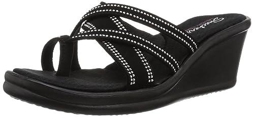159919e47a3b Skechers Cali Women s Rumblers-Cali Spell-Studded Multi Strap Slide Memory  Foam Wedge Sandal