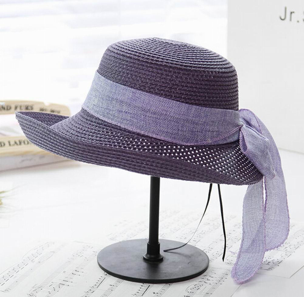 [Purple] Elegant Women Summer Straw Hat Beach Hat Sun Hat Wide Brim Hat by Black Temptation (Image #2)