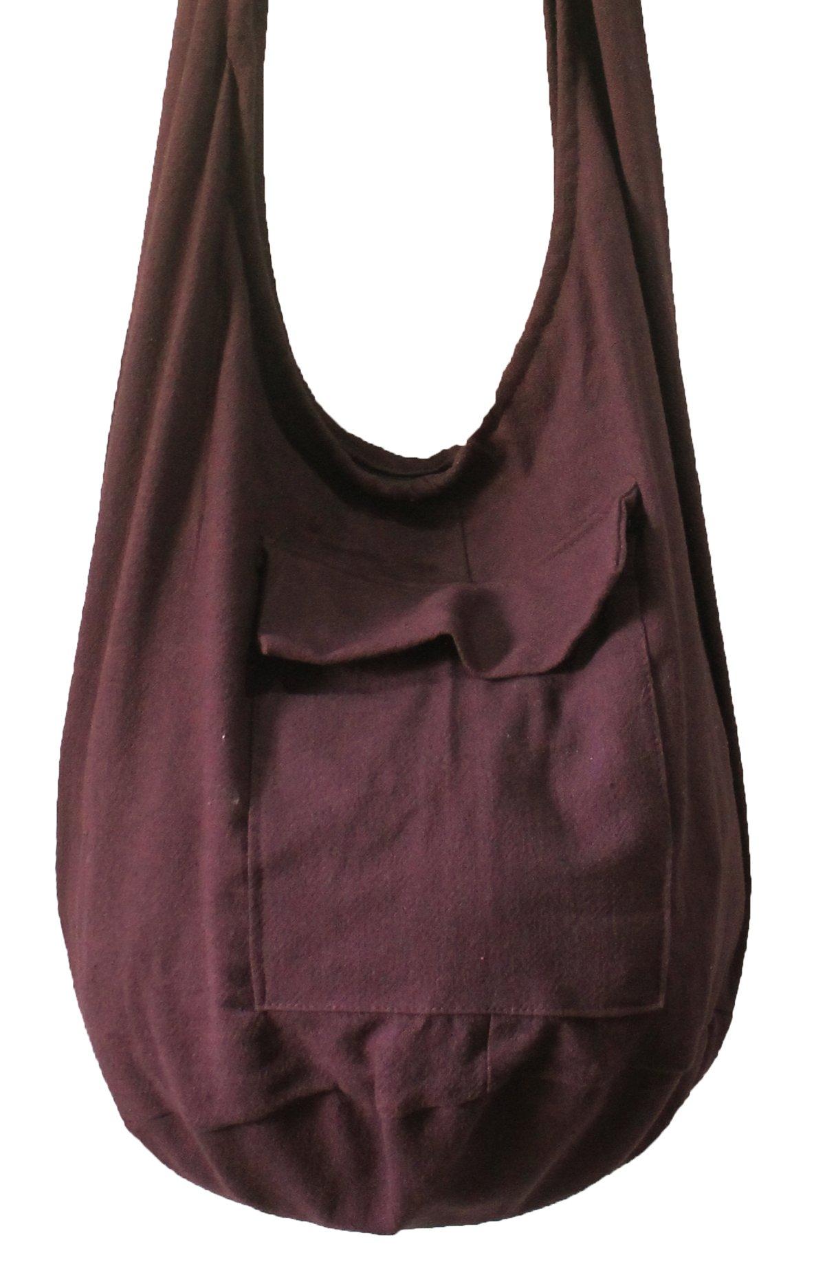 Thai Bag Tribal Bag Hmong Bag Boho Bag Striped Bag Ethnic Striped Thai Cotton Boho Sling Tribal Crossbody Bag Shoulder Bag Thai Pattern Bag Thai Top Zip Handmade Asia Bag (Dark Purple)