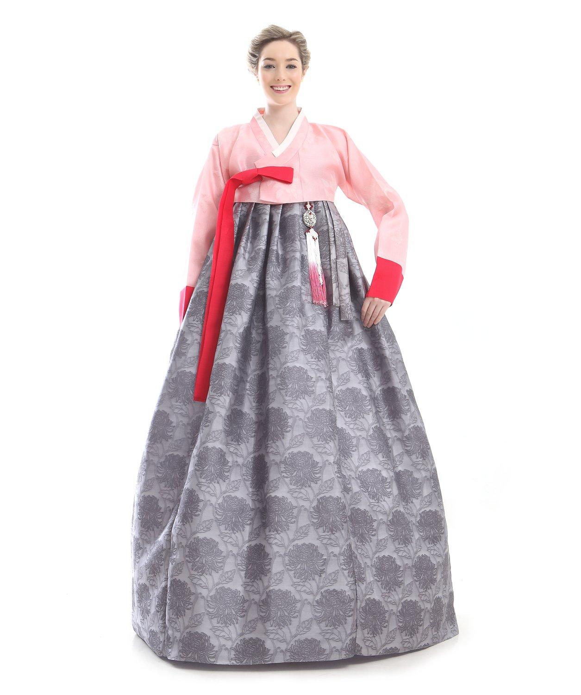 Handgemachter 100% Seide Kleid Hanbok Korea Lang Tracht Braun Design Umbund Party Dress Kleid Elegant Fashion Mode Neu