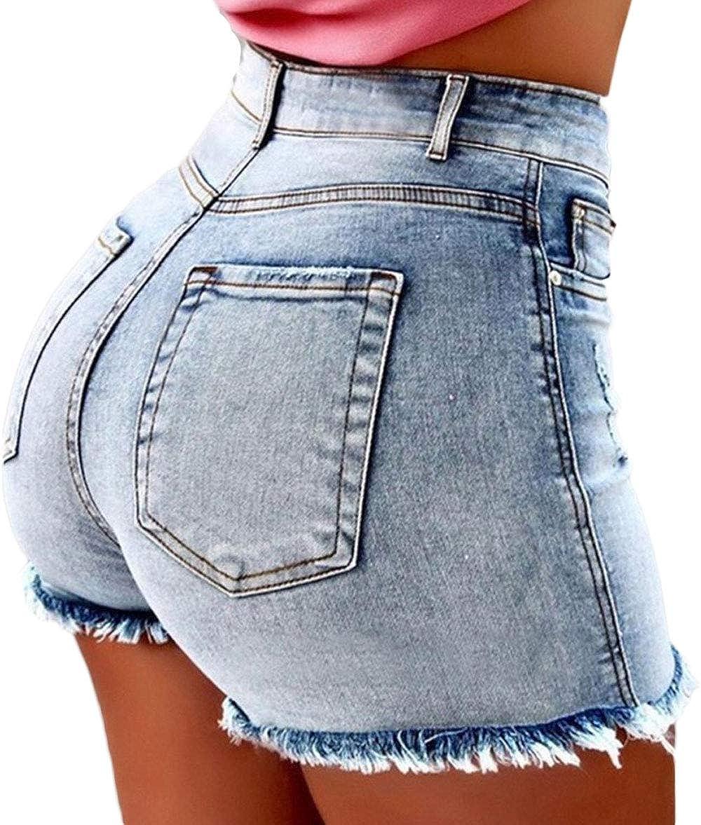 OKWIN Jeans Estivi da Donna Elasticizzati Sfilati Aderenti a Vita Alta Aderenti Attillati da Donna