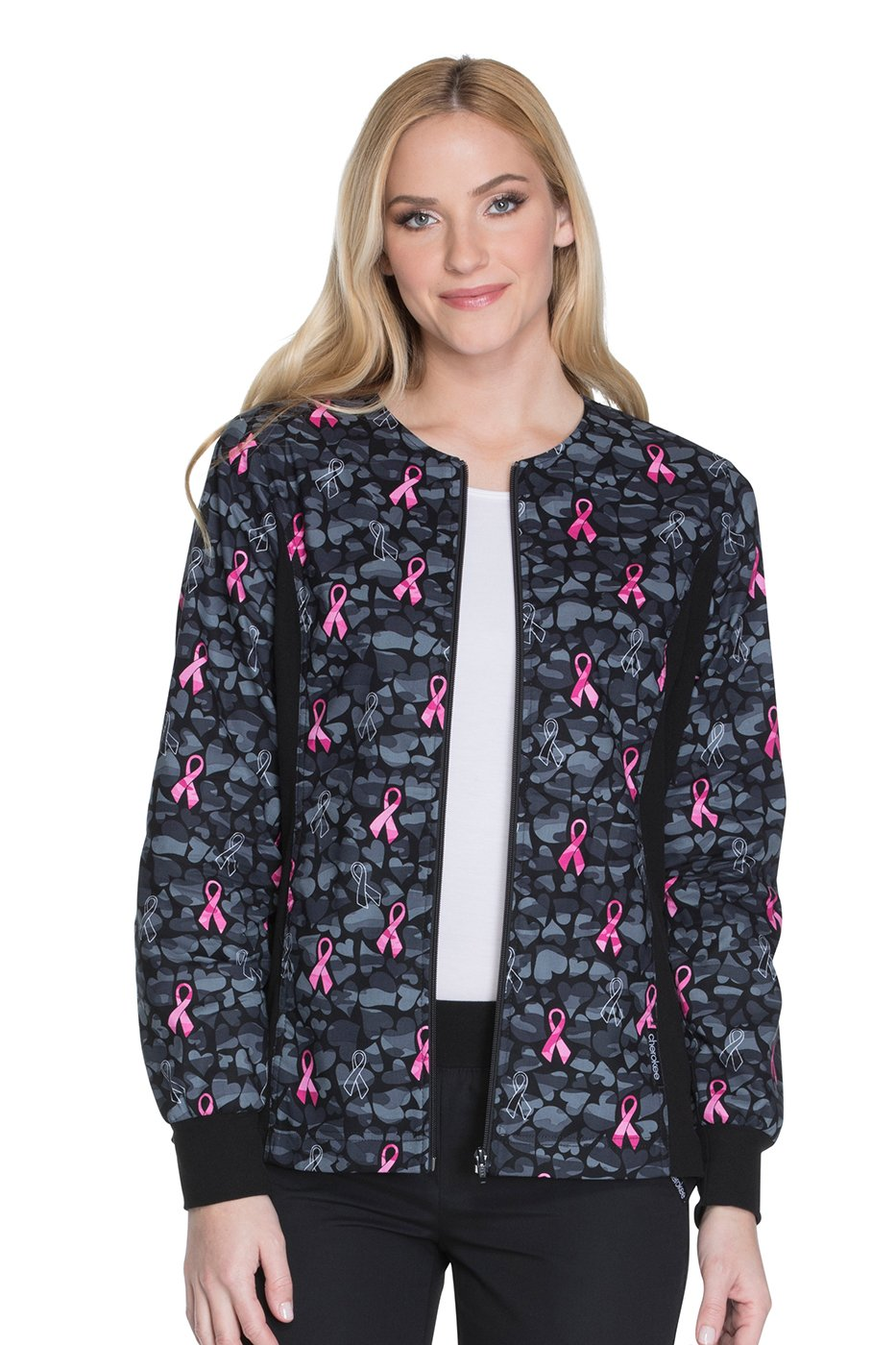 Cherokee Flexibles Women's Zip Up Heart Print Scrub Jacket Medium Print