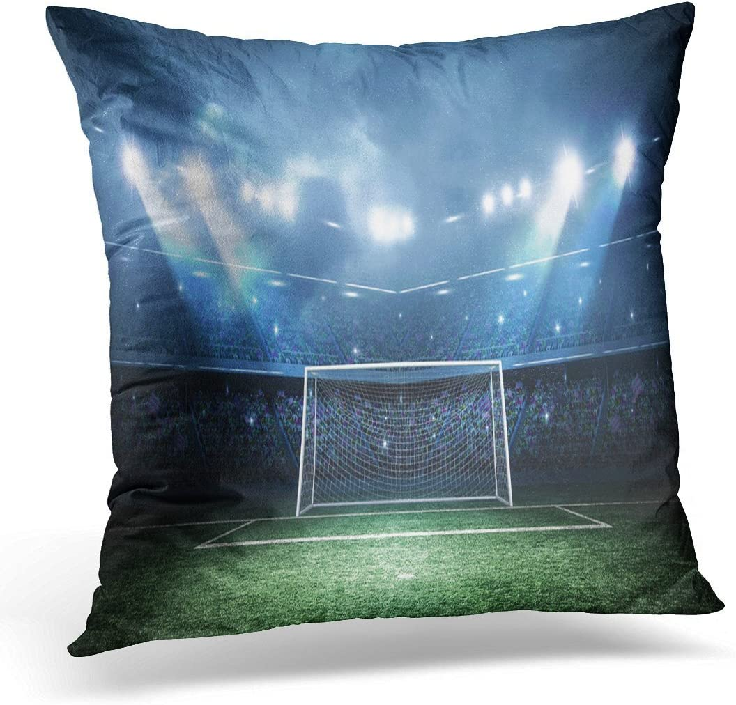 Amazon Com Spxubz Green Soccer Goal Post Stadium Field Decorative Home Decor Square Indoor Outdoor Pillowcase Size 20x20 Inch Two Sides Home Kitchen