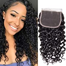 UNice Peruvian Jerry Curly Lace Closure 100% Unprocessed Human Virgin Hair 4X4 Free Part Closure 130% Density (12 inch, Natural Color)