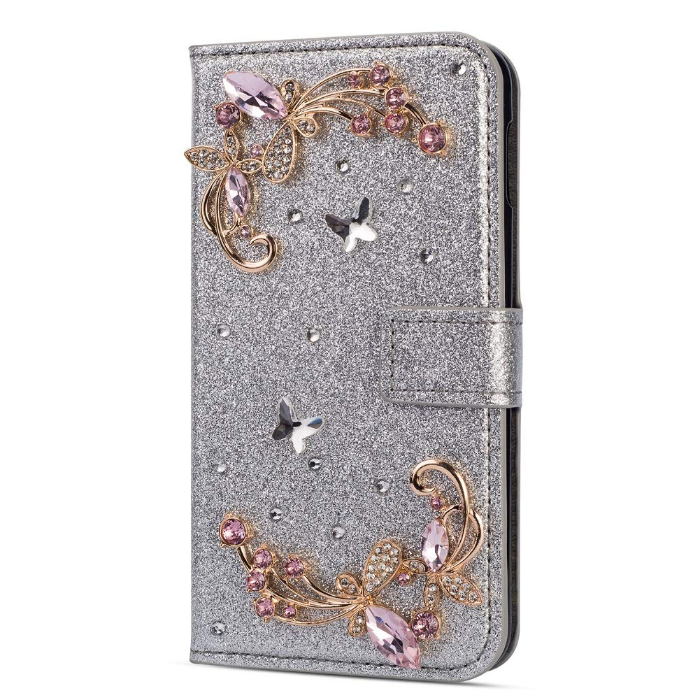 Amocase Glitter Case with 2 in 1 Stylus for Samsung Galaxy S10E,Luxury Diamond 3D Crystal Butterfly Flower Magnetic Wallet Leather Stand Case for Samsung Galaxy S10E - Silver