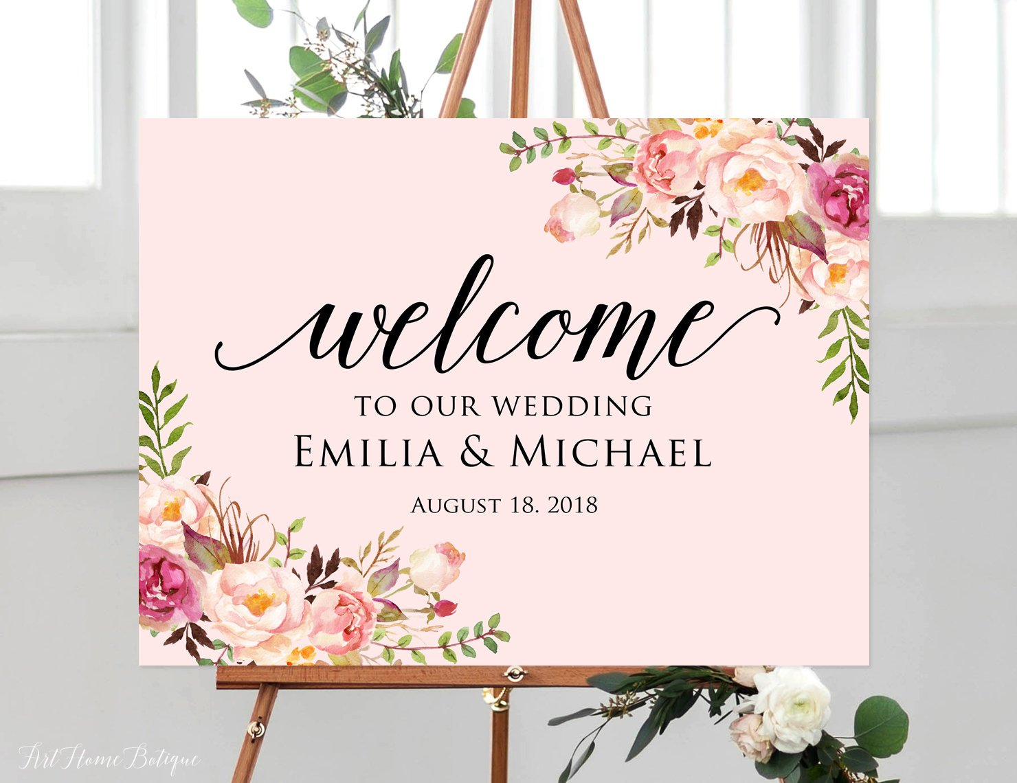 Amazon com: Wood Plaque Welcome Wedding Sign Welcome To Our Wedding