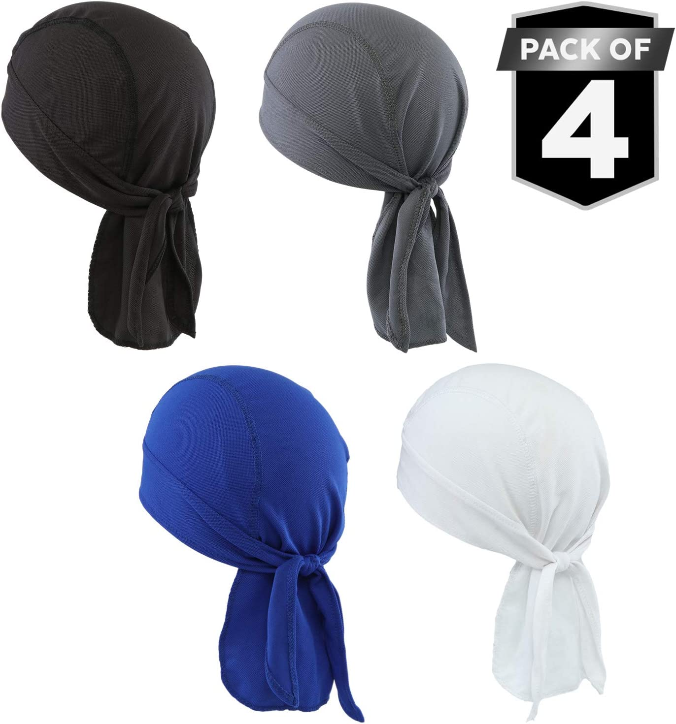 Sweat Wicking Cooling Helmet Liner - Do Rag Skull Cap Beanie for Men & Women. Pirate Hat Bandana & Head Wrap for Motorcycling, Running, Hiking, Cooking & Outdoor Activities. Stretchy & Breathable Mesh