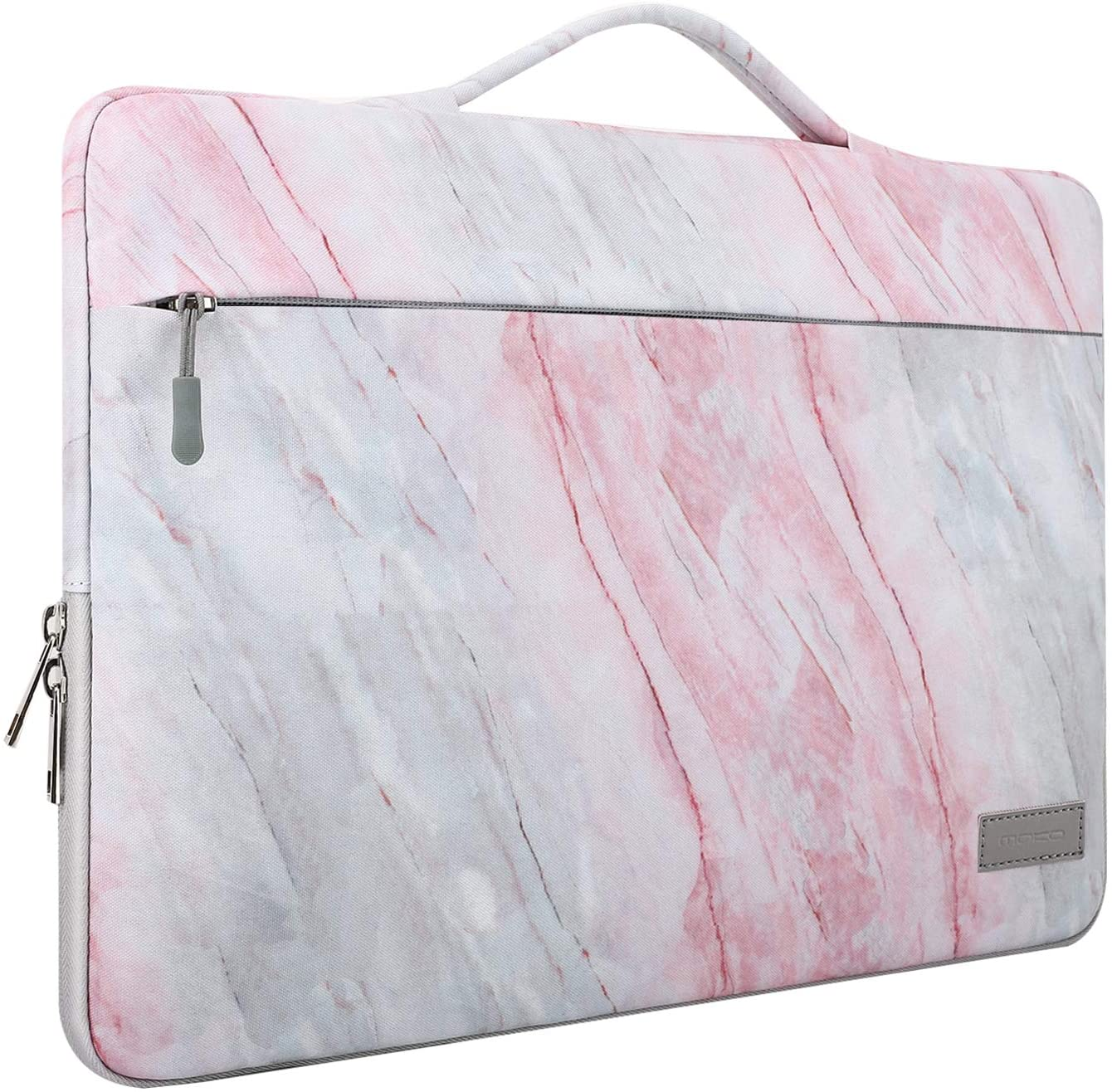 "MoKo 13-13.3 Inch Laptop Sleeve Case Compatible with MacBook Air 13-inch Retina, MacBook Pro 13"", HP Dell Asus Acer Lenove Notebook Computer, Polyester Carrying Bag with Pocket, Pink Gray Marble"