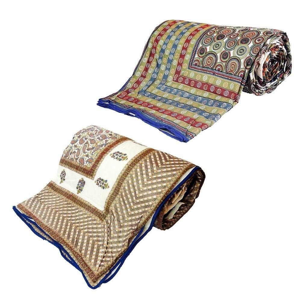 Little India Jaipuri Print AC Double Bed Comforters Pair Combo 314