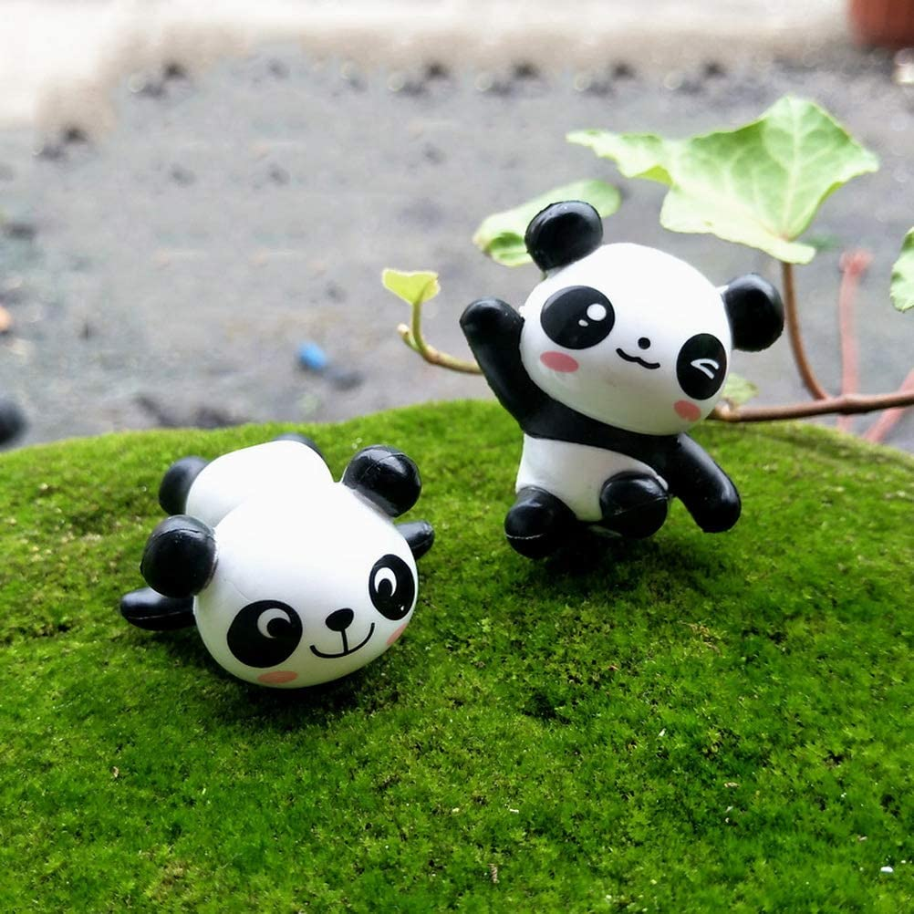 kuou 12 Pieces Panda Cake Toppers Cute Panda Toys Figurines Set for DIY Gardening Doll Cake Decoration Kids Toys