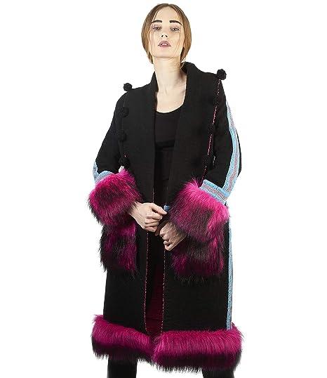 The Extreme Collection® - Abrigo Largo de Punto con Bordados y Detalles en Pelo sintético Rosa para Mujer: Amazon.es: Ropa y accesorios