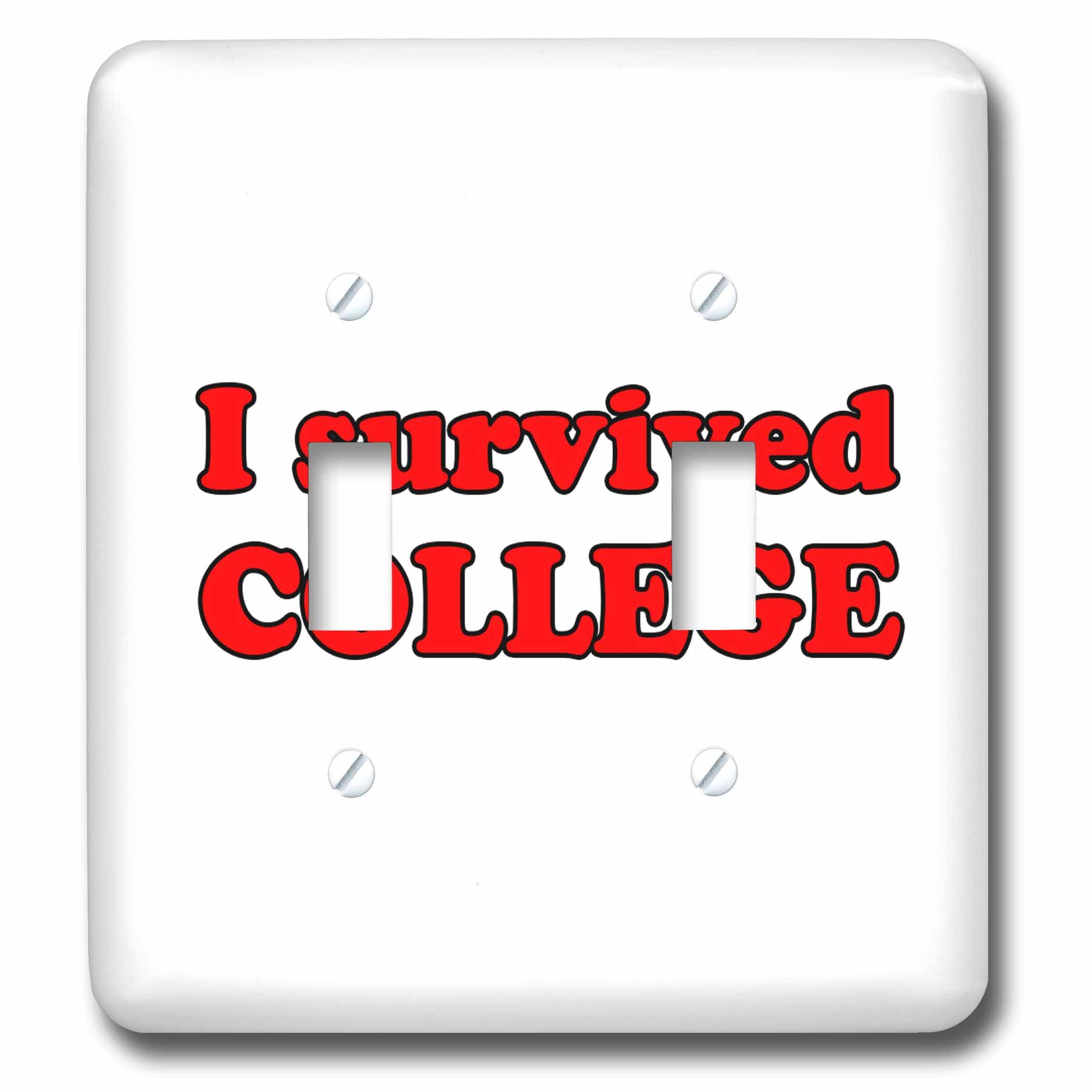 3dRose Student Humor - I Survived College Red - Light Switch Covers - double toggle switch (lsp_274505_2)
