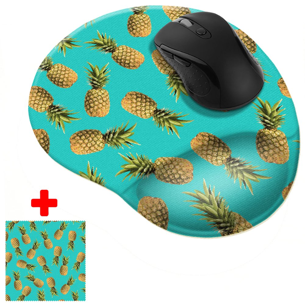 FINCIBO Paradise Pineapples Comfortable Wrist Support Mouse Pad for Home and Office with Matching Microfiber Cleaning Cloth for Computer and Mobile Screens