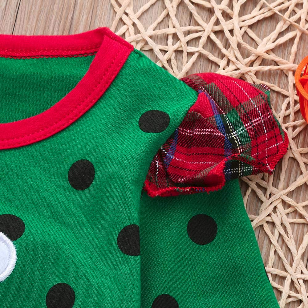 Christmas Dress Toddler Baby Girls Vinjeely Ruffles Long Sleeve Dot Dresses